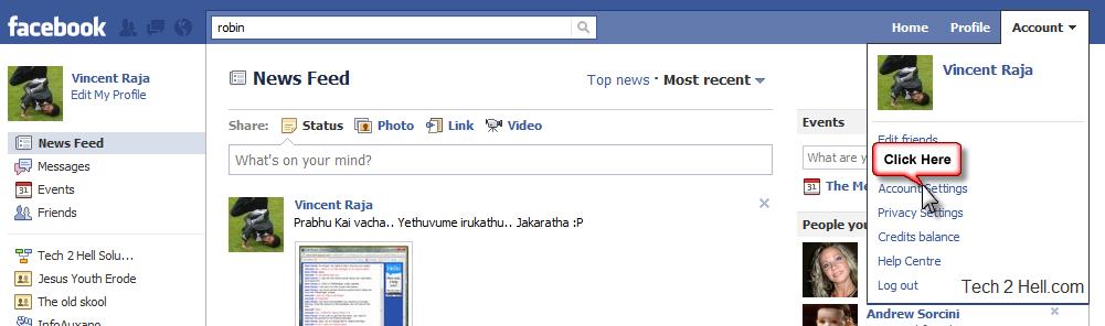 Facebook Account Setting