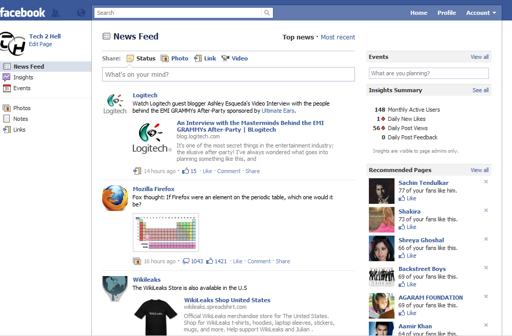 page home page in facebook