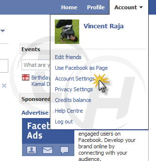 Facebook Accounts Settings