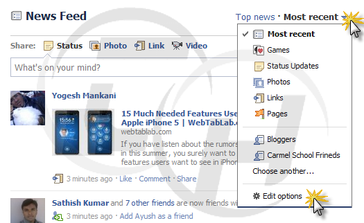 Facebook News Feed Setting