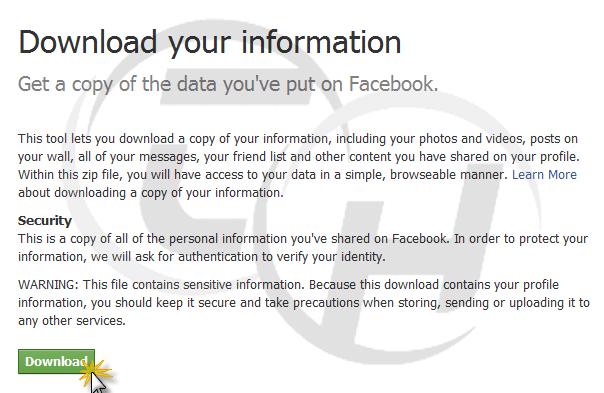 Download facebook information