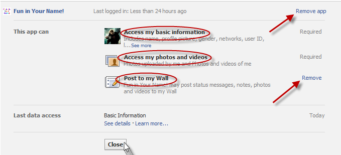 How to remove facebook applications step 5