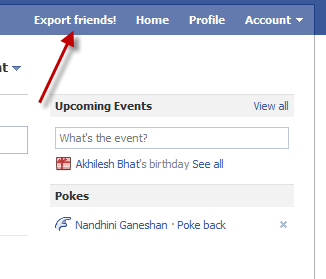 Export Facebook Friends Step 1
