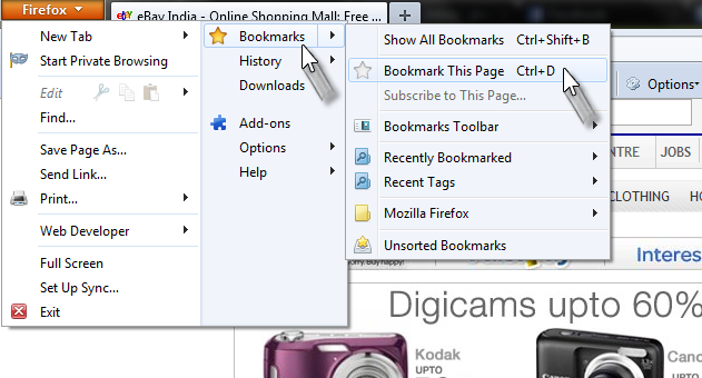 Bookmarking step 1