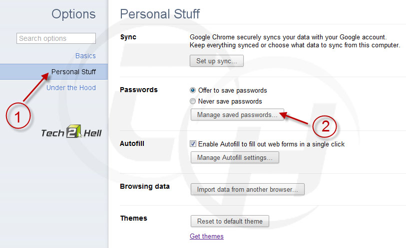 Chome manage saved password