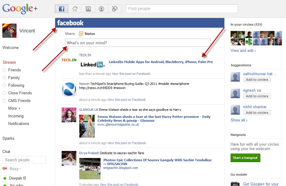 Facebook Interface in google plus