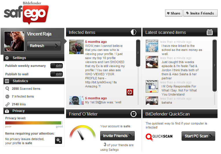 Facebook Safego application