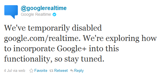 Google Real Time Tweet